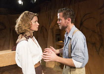 THE FIRST MAN   by Eugene O'Neill   set design: Tim Dann   costumes: Gregor Donnelly   lighting: Charlie Lucas   director: Anthony Biggs Charlotte Asprey (Martha), Adam Jackson-Smith (Curtis) Jermyn S...