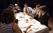 FRENCH WITHOUT TEARS   by Terence Rattigan   design: Simon Daw   lighting: Mark Doubleday   director: Paul Miller l-r, from top of table: David Whitworth (Monsieur Maingot), William Belchambers (Comma...