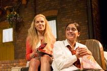 ANITA AND ME   by Meera Syal   adapted for the stage by Tanika Gupta   design : Bob Bailey   lighting: Chahine Yavroran   director: Roxana Silbert   l-r: Jalleh Alizadeh (Anita), Mandeep Dhillon (Meen...