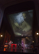 GASLIGHT   by Patrick Hamilton   design: William Dudley   lighting: Chris Davey   director: Lucy Bailey stage,set,whole,interior,Victorian,proscenium,gauze,projection   with Paul Hunter (Rough), Tara...
