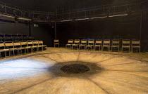 POMONA   by Alistair McDowall   design: Georgia Lowe   lighting: Elliot Griggs   director: Ned Bennett stage,set,empty,auditorium,in-the-round,chairs,seats,drainOrange Tree Theatre, Richmond 2014 prod...