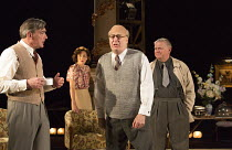 THE MODERATE SOPRANO   by David Hare   design: Rae Smith   lighting: James Farncombe   director: Jeremy Herrin   arguing about the qualities of Mozart's operas - l-r: Nick Sampson (Professor Carl Eber...