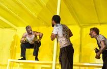 THE HAIRY APE   by Eugene O'Neill   design: Stewart Laing   lighting: Mimi Jordan Sherin   choreography: Aletta Collins   director: Richard Jones left: Bertie Carvel (Yank) Old Vic Theatre (OV), Londo...