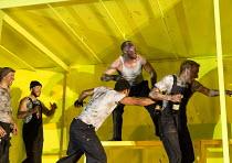 THE HAIRY APE   by Eugene O'Neill   design: Stewart Laing   lighting: Mimi Jordan Sherin   choreography: Aletta Collins   director: Richard Jones centre: Bertie Carvel (Yank)   Old Vic Theatre (OV), L...