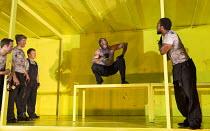 THE HAIRY APE   by Eugene O'Neill   design: Stewart Laing   lighting: Mimi Jordan Sherin   choreography: Aletta Collins   director: Richard Jones centre: Bertie Carvel (Yank) Old Vic Theatre (OV), Lon...