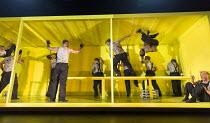 THE HAIRY APE   by Eugene O'Neill   design: Stewart Laing   lighting: Mimi Jordan Sherin   choreography: Aletta Collins   director: Richard Jones company   seated right: Steffan Rhodri (Paddy) Old Vic...