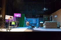 RoosevElvis   by the TEAM / Brooklyn,NY, USA   set design: Nick Vaughan   costumes: Kristen Sieh   lighting: Austin Smith   director: Rachel Chavkin ~stage,set,empty,screen,American,USA,TV,rowing,exer...