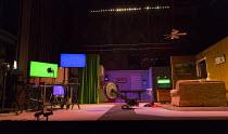 RoosevElvis   by the TEAM / Brooklyn,NY, USA   set design: Nick Vaughan   costumes: Kristen Sieh   lighting: Austin Smith   director: Rachel Chavkin stage,set,empty,screen,American,USA,TV,rowing,exerc...