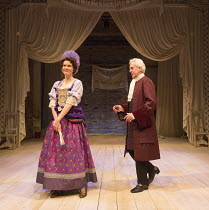 Justine Mitchell (Angelica), Nicholas Le Prevost (Sir Sampson Legend) in LOVE FOR LOVE by William Congreve directed by Selina Cadell set design: Tom Piper   costumes: Rosalind Ebbutt   lighting: Vince...