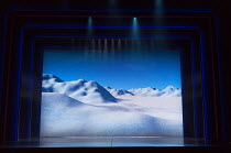 ELF THE MUSICAL opening at the Dominion Theatre, London W1 on 05/11/2015  full,stage,empty,projection,snow,mountains ~book: Thomas Meehan & Bob Martin   music: Matthew Sklar   lyrics: Chad Beguelin...