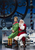 l-r: Ben Forster (Buddy), Mark McKerracher (Santa) in ELF THE MUSICAL opening at the Dominion Theatre / London W1 on 05/11/2015  book: Thomas Meehan & Bob Martin   music: Matthew Sklar   lyrics: Chad...