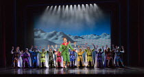 Ben Forster (Buddy) with elves  in ELF THE MUSICAL opening at the Dominion Theatre / London W1 on 05/11/2015  book: Thomas Meehan & Bob Martin   music: Matthew Sklar   lyrics: Chad Beguelin   director...