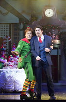 l-r: Ben Forster (Buddy), Graham Lappin (Store Manager)  in ELF THE MUSICAL opening at the Dominion Theatre / London W1 on 05/11/2015  book: Thomas Meehan & Bob Martin   music: Matthew Sklar   lyrics:...
