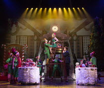 centre, l-r: Ben Forster (Buddy), Kimberley Walsh (Jovie), Graham Lappin (Store Manager)  in ELF THE MUSICAL opening at the Dominion Theatre / London W1 on 05/11/2015  book: Thomas Meehan & Bob Martin...