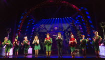 centre, l-r: Kimberley Walsh (Jovie), Ben Forster (Buddy), Graham Lappin (Store Manager)  in ELF THE MUSICAL opening at the Dominion Theatre / London W1 on 05/11/2015  book: Thomas Meehan & Bob Martin...