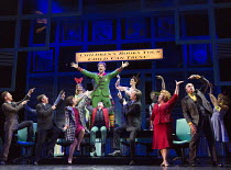 centre: Ben Forster (Buddy)  front right: Jennie Dale (Deb), Mark McKerracher (Mr Greenway) in ELF THE MUSICAL opening at the Dominion Theatre / London W1 on 05/11/2015  book: Thomas Meehan & Bob Mart...