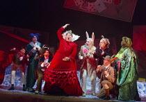 l-r: Daisy Brown (Tweedle Dee), Magid El-Bushra (Cheshire Cat), Victoria Simmonds (Mad Hatter), Robert Burt (Red Queen), James Cleverton (Rabbit), Joanna Marie Skillett (Dormouse), John Lofthouse (Mar...
