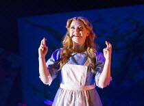Fflur Wyn (Alice) in ALICE'S ADVENTURES IN WONDERLAND opening at the Linbury Studio Theatre, The Royal Opera, Covent Garden, London WC2 on 05/11/2015      music: Will Todd libretto: Maggie Gottlieb co...