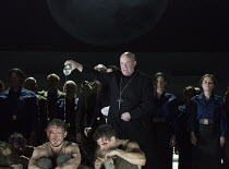 centre: Andrew Shore (Melitone) in THE FORCE OF DESTINY by Verdi at English National Opera (ENO), London Coliseum WC2  09/11/2015  a co-production with Metropolitan Opera, New York & Canadian Opera C...