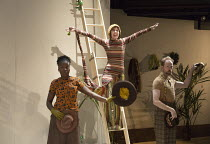 centre: Natalie Klamar (Snake) with Naana Agyei-Ampadu (Thing), Pieter Lawman (Tortoise)  in I WANT MY HAT BACK by Jon Klassen at the Temporary Theatre, National Theatre (NT), London SE1 opening on 16...