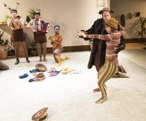 Natalie Klamar (Snake), Marek Larwood (Bear) in I WANT MY HAT BACK by Jon Klassen at the Temporary Theatre, National Theatre (NT), London SE1 opening on 16/11/2015   book & lyrics: Joel Horwood   musi...