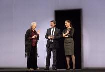 l-r: Susan Engel, Stuart McQuarrie, Eleanor Matsuura in HERE WE GO   by Caryl Churchill  design: Vicki Mortimer   lighting: Guy Hoare   director: Dominic Cooke  Lyttelton Theatre, National Theatre (NT...