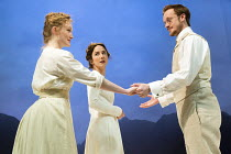 LITTLE EYOLF   by Ibsen   adapted & directed by Richard Eyre   design: Tim Hatley   lighting: Peter Mumford l-r: Eve Ponsonby (Asta Allmers), Lydia Leonard (Rita Allmers), Jolyon Coy (Alfred Allmers)...