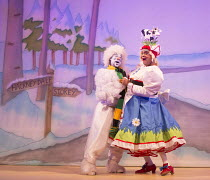 JACK AND THE BEANSTALK   written & directed by Susie McKenna   music: Steven Edis   l-r: Kat B (Snowman), Clive Rowe (Dame Daisy Trott)  Hackney Empire, London E8   26/11/2015        � Donald Cooper/P...