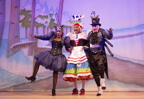 JACK AND THE BEANSTALK   written & directed by Susie McKenna   music: Steven Edis   l-r: Jocelyn Jee Esien (Stomach Bug), Clive Rowe (Dame Daisy Trott), Tony Timberlake (Nasty Bug) Hackney Empire, Lon...