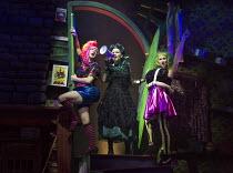 CINDERELLA   by Tom Wells   set design: Oliver Townsend   costumes: Katie Lias   lighting: Tim Deiling   director: Ellen McDougall   l-r: Matt Sutton (Booty), Sara Crowe (Madame Woo), Peter Caulfield...