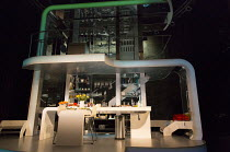 LINDA   by Penelope Skinner   set design: Es Devlin   costumes: Alex Lowde   lighting: Lee Curran   director: Michael Longhurst stage,set,empty,interior,kitchen,modern,hi-tech,split levelJerwood Theat...