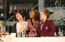 LINDA   by Penelope Skinner   set design: Es Devlin   costumes: Alex Lowde   lighting: Lee Curran   director: Michael Longhurst l-r: Karla Crome (Alice), Noma Dumezweni (Linda), Imogen Byron (Bridget)...
