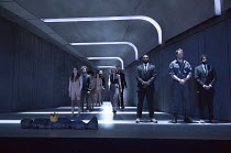 MACBETH   by Shakespeare   music: Clark   set design: Lizzie Clachan   costumes: Merle Hensel   lighting: Neil Austin   directors: Carrie Cracknell & Lucy Guerin  entrance of the Macbeths (centre) wit...