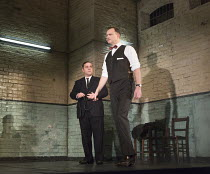 l-r: Andy Nyman (Syd), David Morrissey (Harry) in HANGMEN by Martin McDonagh director: Matthew Dunster design: Anna Fleischle lighting: Joshua Carr   Royal Court Theatre production / opening at Wyndha...