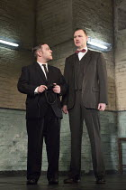 HANGMEN   by Martin McDonagh   design: Anna Fleischle   lighting: Joshua Carr   director: Matthew Dunster l-r: Andy Nyman (Syd), David Morrissey (Harry)Royal Court Theatre production / opening at Wynd...