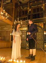 Act 2, sc.3: Emily Barber (Innogen), Calum Callaghan (Cloten) in CYMBELINE by Shakespeare ~design: Richard Kent   director: Sam Yates ~Sam Wanamaker Playhouse / Shakespeare's Globe (SG), London SE1 op...