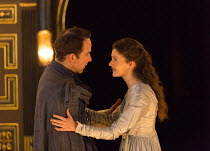 Act 1, sc.2: Jonjo O'Neill (Posthumus), Emily Barber (Innogen) in CYMBELINE by Shakespeare ~design: Richard Kent   director: Sam Yates ~Sam Wanamaker Playhouse / Shakespeare's Globe (SG), London SE1 o...