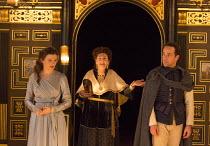 Act 1, sc.2 - l-r: Emily Barber (Innogen), Pauline McLynn (Queen), Jonjo O'Neill (Posthumus) in CYMBELINE by Shakespeare ~design: Richard Kent   director: Sam Yates ~Sam Wanamaker Playhouse / Shakespe...