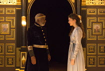 Act 1, sc.2: Joseph Marcell (Cymbeline), Emily Barber (Innogen) in CYMBELINE by Shakespeare ~design: Richard Kent   director: Sam Yates ~Sam Wanamaker Playhouse / Shakespeare's Globe (SG), London SE1...
