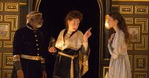Act 1, sc.2 - l-r: Joseph Marcell (Cymbeline), Pauline McLynn (Queen), Emily Barber (Innogen) in CYMBELINE by Shakespeare ~design: Richard Kent   director: Sam Yates ~Sam Wanamaker Playhouse / Shakesp...