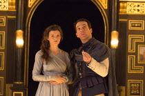 Act 1, sc.2 - l-r: Emily Barber (Innogen), Jonjo O'Neill (Posthumus) in CYMBELINE by Shakespeare ~design: Richard Kent   director: Sam Yates ~Sam Wanamaker Playhouse / Shakespeare's Globe (SG), London...