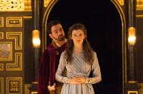 Act 1, sc.7: Eugene O'Hare (Iachimo), Emily Barber (Innogen) in CYMBELINE by Shakespeare ~design: Richard Kent   director: Sam Yates ~Sam Wanamaker Playhouse / Shakespeare's Globe (SG), London SE1 ope...