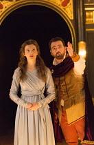 Act 1, sc.7: Emily Barber (Innogen), Eugene O'Hare (Iachimo) in CYMBELINE by Shakespeare ~design: Richard Kent   director: Sam Yates ~Sam Wanamaker Playhouse / Shakespeare's Globe (SG), London SE1 ope...
