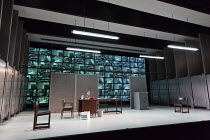 HAPGOOD   by Tom Stoppard   design: Ashley Martin Davis   lighting: James Farncombe   director: Howard Davies full,stage,set,empty,office,screens,computer,digital,display,modern,stark,harshHampstead T...