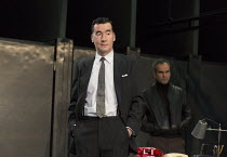 l-r: Tim McMullan (Blair), Gerald Kyd (Ridley) in HAPGOOD by Tom Stoppard opening at Hampstead Theatre, London NW3 on 09/12/2015   design: Ashley Martin Davis lighting: James Farncombe director: Howar...