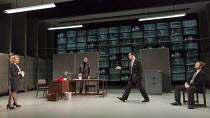 l-r: Lisa Dillon (Elizabeth Hapgood), Gerald Kyd (Ridley), Tim McMullan (Blair), Alec Newman (Kerner) in HAPGOOD by Tom Stoppard opening at Hampstead Theatre, London NW3 on 09/12/2015   design: Ashley...