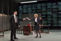 l-r: Tim McMullan (Blair), Lisa Dillon (Elizabeth Hapgood), Gerald Kyd (Ridley) in HAPGOOD by Tom Stoppard opening at Hampstead Theatre, London NW3 on 09/12/2015   design: Ashley Martin Davis lighting...