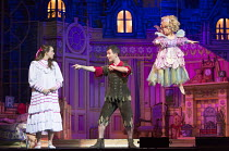 l-r: Victoria Fitz-Gerald (Wendy Darling), George Ure (Peter Pan), Francesca Mills (Tinkerbell) in PETER PAN opening at the New Wimbledon Theatre, London SW19 on 08/12/2015 director: Ian Talbot  Donal...