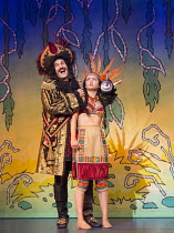 Marcus Brigstocke (Captain Hook), Chloe Macgregor (Tiger Lily) in PETER PAN opening at the New Wimbledon Theatre, London SW19 on 08/12/2015 director: Ian Talbot  Donald Cooper/Photostage   donald@phot...
