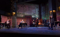 EVENING AT THE TALK HOUSE   by Wallace Shawn   set design: The Quay Brothers   costumes: Soutra Gilmour   lighting: Neil Austin   director: Ian Rickson   l-r: Stuart Milligan (Ted), Naomi Wirthner (An...